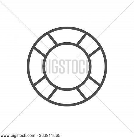 Rubber Ring Line Flat Black Icon. Lifesaver Vector Illustration Isolated On White.