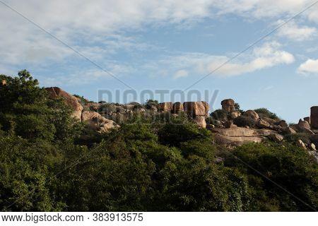 Pyramid Of Huge Stones At Hampi Ruins Ancient City Image Is Taken At Hampi Karnataka India.