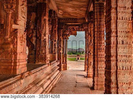 Vithala Temple Hampi Ruins Interior Antique Stone Art From Unique Angle