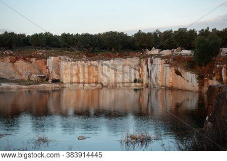 Marble Mines Red Rocks In Estremoz Borba And Vila Vicosa, Alentejo, Portugal