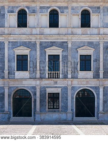 Elvas, Portugal - February 21, 2019: Window Architecture Details Of Paco Ducal In Vila Vicosa In Ale