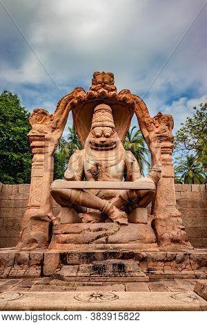 Narasimha Lakshmi Temple Hampi Antique Stone Art Close Up Shot From Unique Angle With Amazing Sky