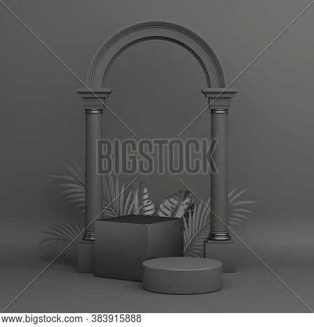 Black Friday Podium With Monstera Palm Leaves Column Gate, Product Display Mock Up On Studio Lightin