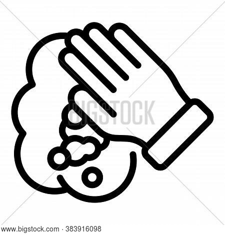 Washcloth Hand Icon. Outline Washcloth Hand Vector Icon For Web Design Isolated On White Background