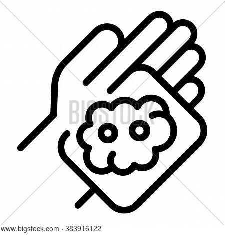 Sponge In Hand Icon. Outline Sponge In Hand Vector Icon For Web Design Isolated On White Background