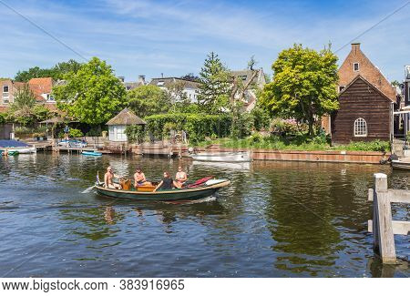 Loenen Aan De Vecht, Netherlands - May 21, 2020: Tourists Taking A Boat Ride On The River Vecht In L