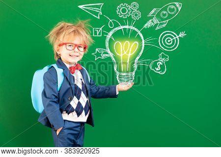 Bright Idea! Happy Child Student In Class