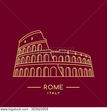 Colosseum Line Art Icon. Outline Coliseum Stadium Template. Italian Landmark. Vector Illustration.