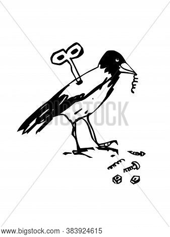 Funny Mechanical Crow - It Is Abstract Ink Drawing And Cartoon Of A Fantasy Toy And Clockwork Mechan