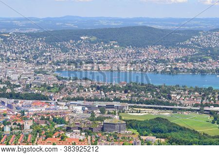 Top-view Of Zurich From The Mountain In A Sunny Summer Day