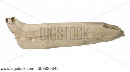 Wooden Splinter Or Piece Of Bark Isolated On White Background. Item For Mock Up, Scene Creator And O