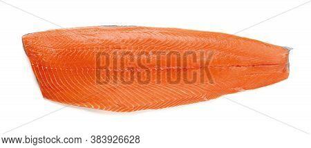 Whole Raw Salmon Fillet Isolated On White Background. Half Of Fresh Chilled Boneless Salmon With Ski