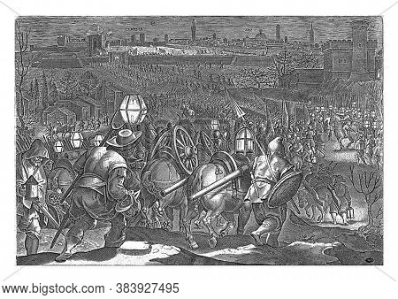 Siege of Camollia and Siena, The troops of Charles V and Cosimo De 'Medici set out for the night towards Siena (1554). In the background the siege of the city, vintage engraving.