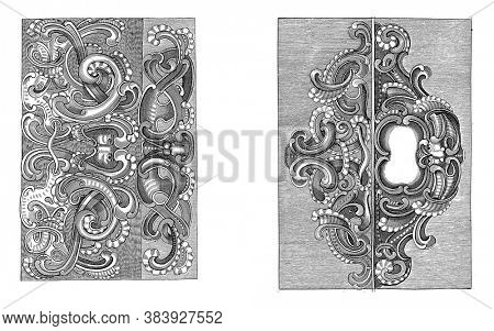 Two scenes on a two-part album sheet. Both performances are divided horizontally in two. In each part a lobe style ornament, vintage engraving.
