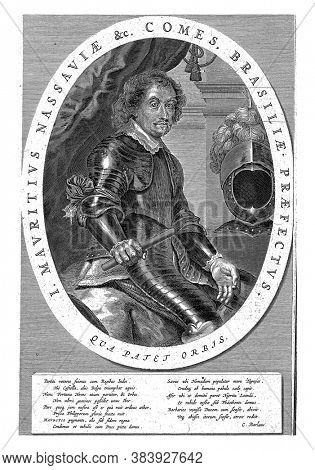 Portrait of John Maurice, Prince of Nassau-Siegen, 1647, Knee sitting in armor, to the right, vintage engraving.