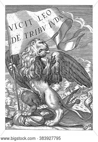 A lion standing on its hind legs with a banner in its right front leg. He tramples weapons with his hind legs. Ships in battle in the background, vintage engraving.