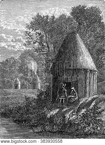 Gallic houses. Vintage engraving. From Popular France, 1869.