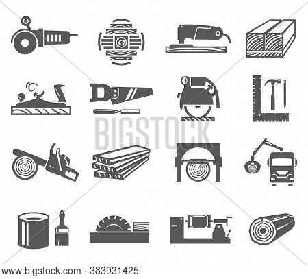 Woodworking Industry Bold Black Silhouette Icons Set Isolated On White. Carpentry, Joinery Tools.