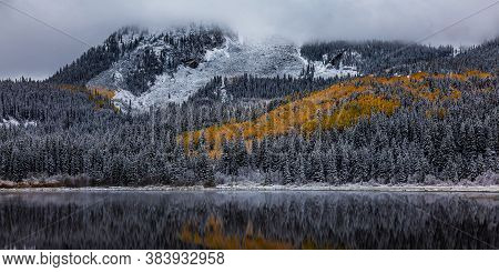 Colorado Scenic Beauty In Autumn. Lost Lake On Kebler Pass Near Crested Butte, Colorado.