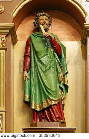 LOMNICA DONJA, CROATIA - SEPTEMBER 28, 2012: Saint Bartholomew statue on the altar of Saint Bartholomew in Church of the Holy Three Kings in Lomnica Donja, Croatia