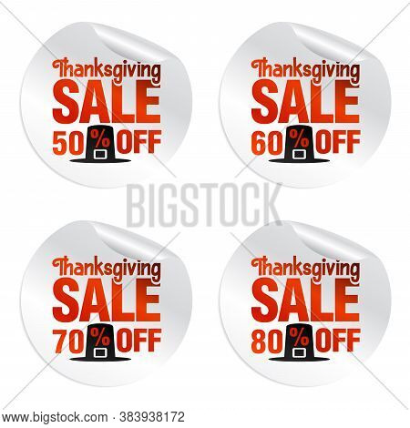 Thanksgiving Sale Stickers Set 50%, 60%, 70%, 80% Off With Pilgrim's Hat. Vector Illustration