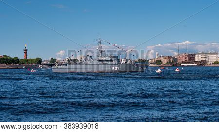 Marine Parade In St. Petersburg. Warships In The Roadstead. Warships On The Neva In The Center Of St