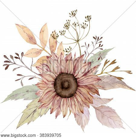 Watercolor Floral Bouquet. Sunflower, Dill, Fall Leaves. Thanksgiving Illustration Isolated On The W