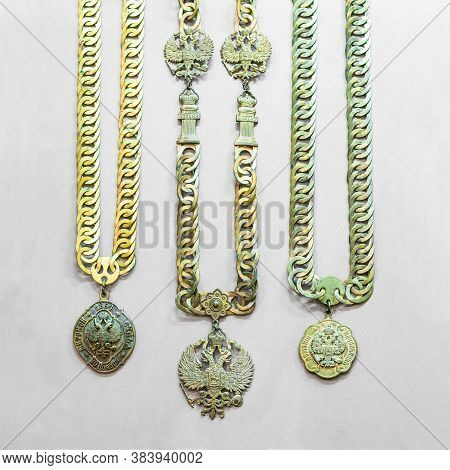 Antique Russian Medallions Of The Highest Judicial Officials - Gilded Medallions On A Chain