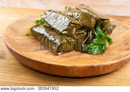 Traditional Turkish Dolma, Sarma Or Dolmades Closeup