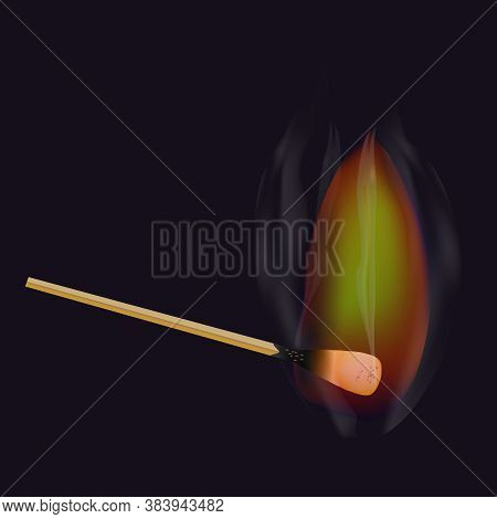 Burning Match Stick Isolated On Dark Background. Wooden Match With Fire. Realistic Matchstick And Br