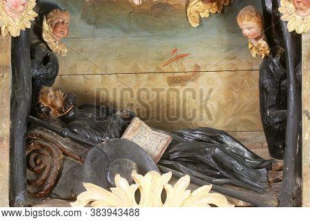 TABORSKO, CROATIA - SEPTEMBER 04, 2012: Altar of St. Francis Xavier in the Church of the Assumption of the Virgin Mary in Taborsko, Croatia