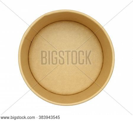 Paper Food Box Disposable Bowl Top View (with Clipping Path) Isolated On White Background