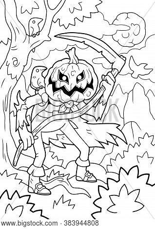 Cartoon Halloween Monster Jack Lantern, Coloring Book, Funny Illustration