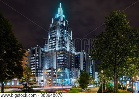 Moscow, Russia - Sent 05, 2020: Business Center Oruzheyny, Arms, In Moscow City, Car Light Trails At
