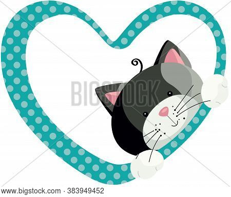 Scalable Vectorial Representing A Cute Gray Cat Peeking Out Of Heart Frame, Element For Design, Illu