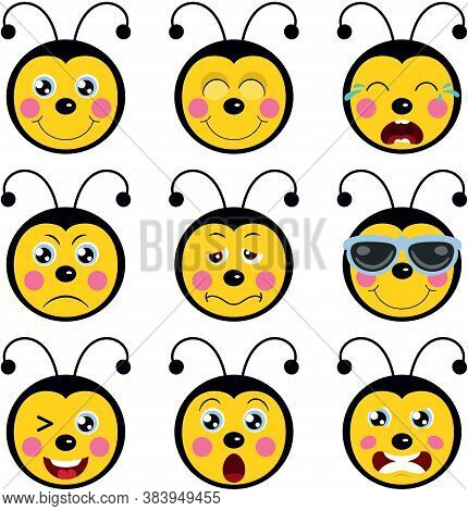 Scalable Vectorial Representing A Faces Of Bees With Feature A Different Expressions, Element For De