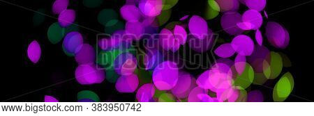 Soft focus Abstract lights blur blinking horizontal long background.