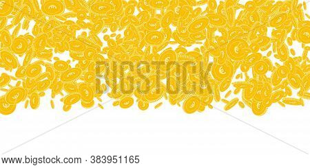 European Union Euro Coins Falling. Scattered Floating Eur Coins On White Background. Amazing Wide To