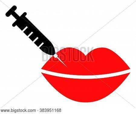 Botox Lips Injection Icon On A White Background. Isolated Botox Lips Injection Symbol With Flat Styl