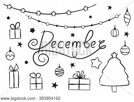 Set Of Hand Drawn December Elements Isolated On White Background. Christmas Icons In Doodlo Style. G