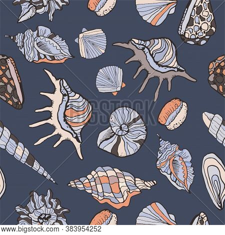 Vector Seamless Texture Of Sea Shells Icons. Vector Colorful Background. Marine Illustration With Co
