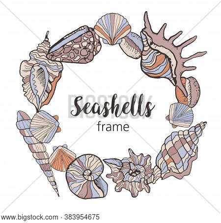 Frame Made Of Seashells In Cartoon Style. Linear Sketch Drawing In Color. Nautical Social Media Post
