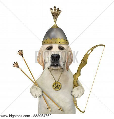 A Dog In A Knight Helmet With Feathers Is Armed With A Bow And Arrows. White Background. Isolated.