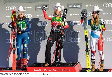 Super-g Winners (l To R) Nicol Delago Of Italy, Viktoria Rebensburg Of Germany And Corinne Suter Of