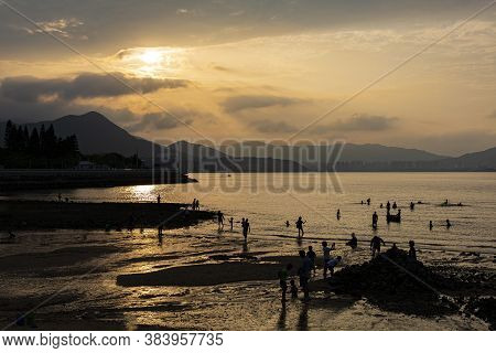 Ma On Shan, Hong Kong - Sep 5, 2020: The Beach In Ma On Shan In Hong Kong On Sep 5, 2020 With People