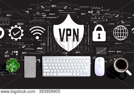 Vpn Concept With A Computer Keyboard And A Mouse