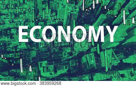 Economy Theme With Aerial View Of Manhattan New York Skyscrapers