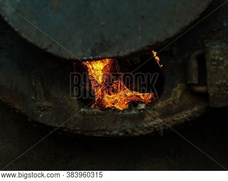 Red Hot Coals In A Blast Furnace For Metal Melting. Metal Mining And Processing Industry. Red Coals