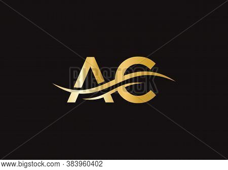 Ac Letter Logo Design With Creative Modern Trendy Typography. Initial Ac Logo Template Vector Illust