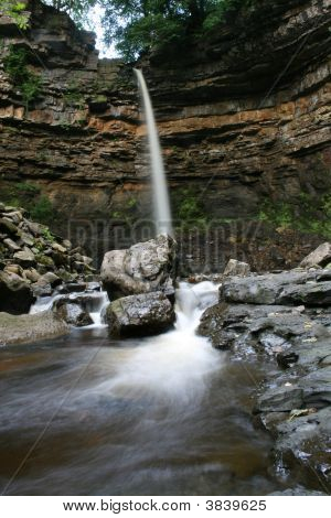 Image of Hardraw Force Water Fall in North Yorkshire water appears frozen. This was one of the locations for Robin Hood Prince of Thieves poster